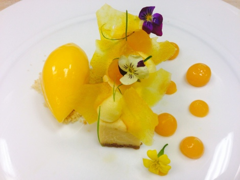 Key Lime Bar with Mango Sorbet & Passion Fruit Glacee and Gel