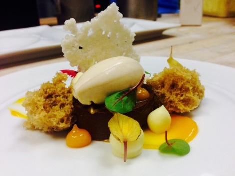 Chocolate Ganache, Hazelnut Sponge Cake, Coconut Tapioca, Passion Fruit Foam and Gel, Banana Yogurt Sorbet