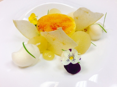 Crema Catalana with Poached Apples, Apple Pudding, Cinnamon Ice Cream, Apple Cider Foam